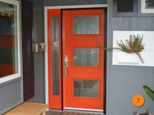 orange fiberglass door